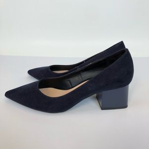 Zara Pointed toe shoes with patent block heel
